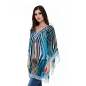 DEVAIN KAPOOR Riva Box Sleeve Blouse - Blue/Black