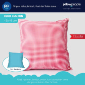 PILLOW PEOPLE Deco Cushion - Baby Blue & Checker Red/45x45cm