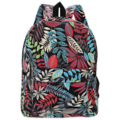 Plant Print Canvas Zipper Portable Backpack for Girl VERTICAL