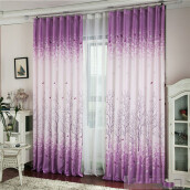 BESSKY Tree Calico Finished Product Cloth Window Screens Curtain_ Purple
