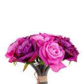 KOKOJI Artificial Rose Bouquet - Purple / KKJ-0317-44 JD