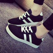 Stylish Black Patchwork CanvasCanvas Sneakers