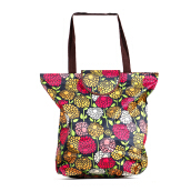 HK Shopping Bag Flowers - Black 39x37x13cm