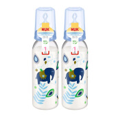 NUK Classic Bottle Silicone 2pk - Pink/Blue/Green - 240ml - 0-6 months