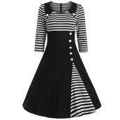 Zaful Woman Vintage Classic Striped Buttoned Pin Up Plus size Dress