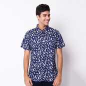 MINARNO Feather 001 S/S Shirt Qy - Navy