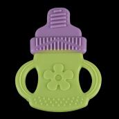 BOBEIELEPHANT Silicone Teething Pacifier Babies Teether(Purple-Green Bottle)
