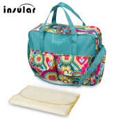 Multifunctional Zipper Clossure Handbag Mummy Diaper Bag(Flowers Pattern 39*12.5*33)