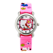 Keymao Hellokitty Waterproof 3D Cute Cartoon Silicone Wristwatches Gift for Little Girls Boy Kids Children