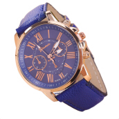 Trendy Style Romen Number Display Watch Leather Material Wrist Watches