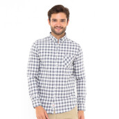 3SECOND Classic Check Long Shirt - Grey