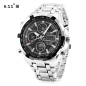 6.11 8128 LED Male Dual Movt Sport Watch Chronograph Alarm Calendar Men Wristwatch