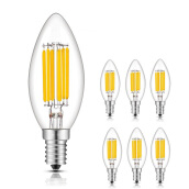Vinmori Led E27 2W Candelabra Bulb (6 Pack) Dimmable LED Filament Candle Light Bulb 2700K Warm White 20W Equivalent Yellow