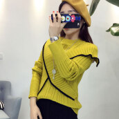 Women's Simple Yellow O-Neck Patchwork Sweater
