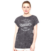 GREENLIGHT Text Printed Washed Tee - Grey