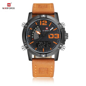 NAVIFORCE NF9095M Male Dual Movt Watch Calendar Luminous 3ATM Genuine Leather Band Wristwatch