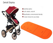 Solid Color Breathable Cotton Cushion for Baby Carriage-Orange