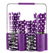 VICENZA Sendok Set 24 Pcs V240C - Motif Kotak / Purple