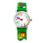Keymao King Lion Waterproof 3D Cute Cartoon Silicone Wristwatches Gift for Little Girls Boy Kids Children Green