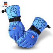 Aotu Paired Unisex Outdoor Riding Water Resistant Windproof Warm Snowboard Skiing Gloves