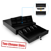 Excelvan Black Heavy Duty Cash Drawer With 5 Bills &amp 8 Coins(2 Row) Tray &amp 2 Cheque Slots