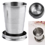 Stainless Steel Mini Travel Retractable Cup Keychain Telescopic Camping