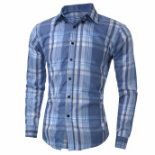 New Men's Casual Cotton Shirts - Light Blue