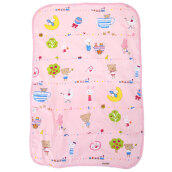 Portable Waterproof Cartoon Print Urine Mat Nappy Cover Pad for Infant Babies (pink middle)