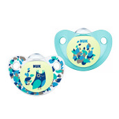 NUK Glow In The Dark Trendline Night & Day Silicone Soother Size 2 (Isi 2 pcs) - Blue Owl & Leaves
