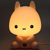 Lovely Cartoon Rabbit Design Energy Saving Warm Light Desk Lamp EU PLUG