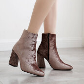 Cute Brown Solid Flock Boots
