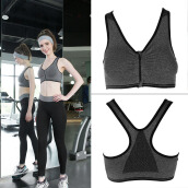 Women Sport Bra Running Gym Yoga Fitness Tops Tank Workout Zipper Stretch