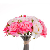 KOKOJI Artificial Rose Bouquet - Peach & Pink / KKJ-0317-41 JD