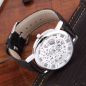 Men's Watch Hollow Out Transparent Dial PU Leather Wrist Watch