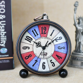 TXL Metal Antique Alarm Clock Needle Retro Classic Silent Desktop Clock Student Large Number Clock Loud Alarm Table Clock