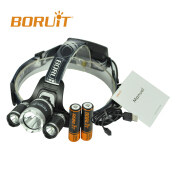 BORUiT Upgraded RJ-3000 Plus XM-L T6 3 LED Micro USB Cable+2x18650 Rechargeable Batteries Headlamp Hunting Headlight Black