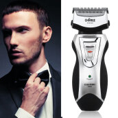 [Kingstore]Men's Rechargeable Electric Shaver Double Mesh Blades Razor Groomer US Plug