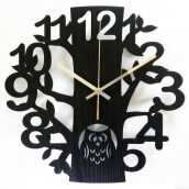 NAIL YOUR ART Black Owl Wall Clock/32x32Cm