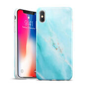 iPhone X Case, iPhone X Marble Case, ESR Slim Soft Flexible TPU Marble Pattern Cover for Apple iPhone X (Light Blue Sierra)
