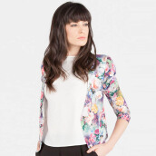 Blanik Cerys Open Front Printed Blazer Outerwear 85520 - Print Blue [One Size]