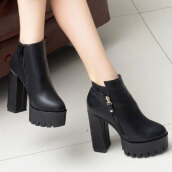 Simple Black Solid PU Boots