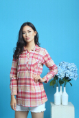 MOBILE POWER Ladies Shirt Stripe/Plaid - Pink MPL272