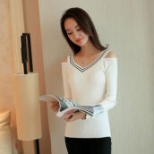 Women's Stylish White V-Neck Solid Sweater