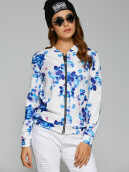 Gamiss Women'S Fashion Casual Floral Printed Bomber Jacket Coat
