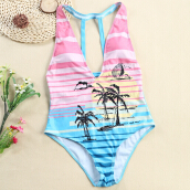 Sexy V Neck Backless Pad Stripe Tree Women Swimsuit