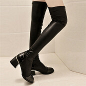 BESSKY Fashion Leather Over Knee Boots Women Toe Elastic Stretch Thick Heel Boots -