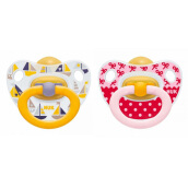 NUK Happy Kids Latex Soother Size 2 (Isi 2 pcs) - Pink Ribbon & Ship