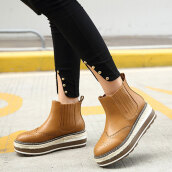 Cute Brown Solid PU Boots