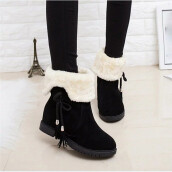 BESSKY Snow Boots Winter Ankle Boots Women Shoes Heels Winter Boots Fashion Shoes_