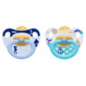 NUK Happy Kids Latex Soother Size 2 (Isi 2 pcs) - Blue Stripe & Ship